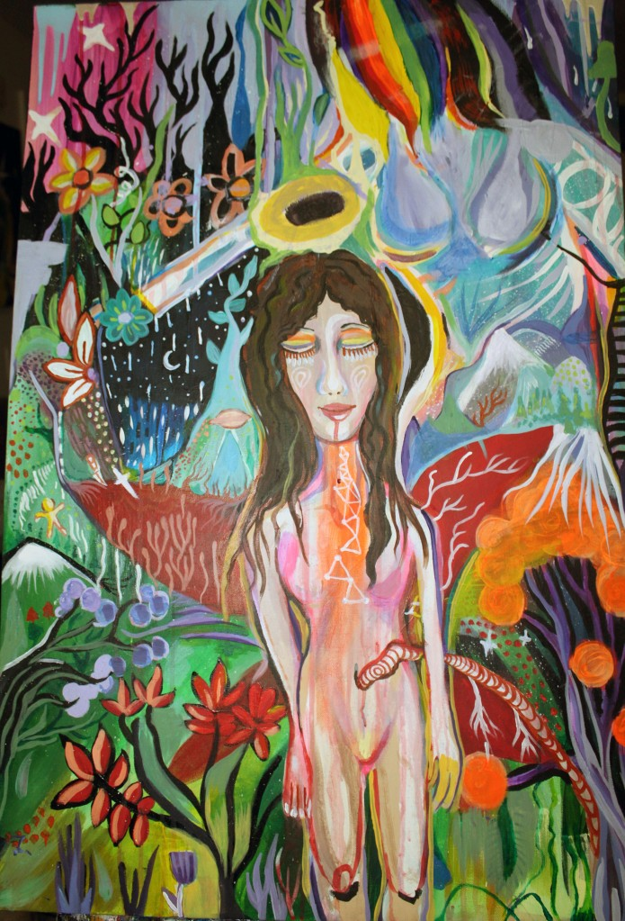 psychedelic painting trippy goddess universal love